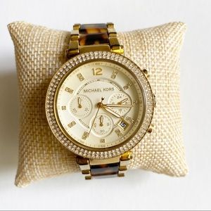 Michael Kors Parker Tortoise Gold Tone Watch